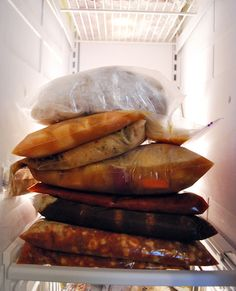 Freezer Meals-Chicken and Salsa Flautas  Orange Chicken  Cafe Rio Crockpot Chicken  Teriyaki Chicken  Spaghetti Sauce and Meatballs  Sweet and Tangy Meatballs  Taco Soup  Cheesy Chicken and Wild Rice Casserole