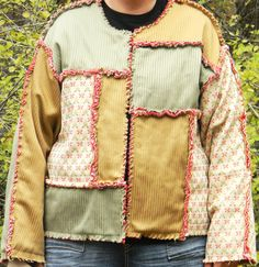 Rag Quilt Jacket in Greens and Browns by mayfieldgiftshoppe