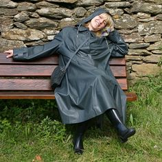 Grey Rubber Hooded Raincoat