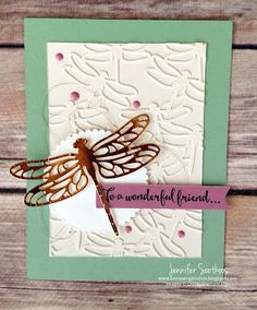 handmade greeting card from Sootywing Studios: Dragonfly Dreams ... tone one tone die cut dragonflies cover the main panel ... large copper foil dragonfly with lacy wings as focal image ... like the color combo used ... Stampin' Up!