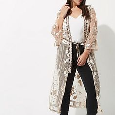 9337d6b5d44 Plus pink floral embellished maxi kimono Plus Size Kimono