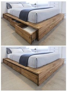 Platform Bed With Drawers, Bed Frame With Drawers, Bed Frame With Storage, Bed Storage, Bed Drawers, Bed Frame Design, Bedroom Bed Design, Home Decor Bedroom, Bedroom Sets