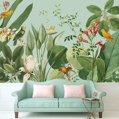 Details about Jungle Whisper 1 Adhesive Custom Canvas Bedroom Living Room Wallpaper Mural - Beautiful rooms - Living Room Wallpaper Murals, Bird Wallpaper Bedroom, Cloud Wallpaper, Custom Wallpaper, Wall Murals, Modern Wallpaper, Wallpaper Plants, Bedroom Wallpaper Murals, Office Wallpaper