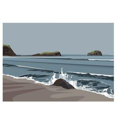 Bass Rock from Seacliff beach by Ian Mitchell Gravure Illustration, Illustration Art, Illustrations, Abstract Landscape, Landscape Paintings, Landscape Illustration, Art Fair, Art Techniques, Art Inspo