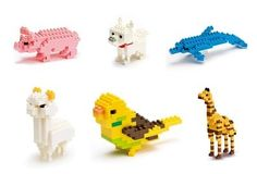 lego animals; pig, dog, dolphin, canary, giraffe & mystery animal. And alpaca
