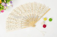 1Piece Handmade Cotton Lace Fans Folding Hand Fan for Wedding Party Favors Decoration: ivory