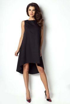 83a76d215f Czarna Sukienka z Asymetrycznym Dłuższym Tyłem Produkty