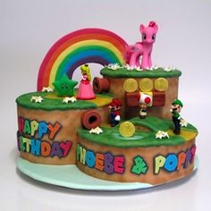 Colourful Super Mario 3D World and My Little Pony cake