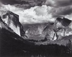 "Yosemite Valley, Thunderstorm, Ansel Adams, about 1970 ""Art is both love and friendship, and understanding; the desire to give. It is not charity, which is the giving of Things, it is more than kindness which is the giving of self. It is both the taking and giving of beauty..."" -Ansel Adams."