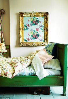Interiors: Preloved delights with vintage-chic aficionado, Sarah Moore Green Bedding, Decoration Originale, Framed Fabric, Home And Deco, Home Living, Of Wallpaper, My New Room, Beautiful Bedrooms, Vintage Decor