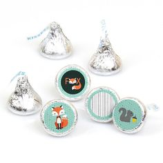 Mr. Foxy Fox  Round Candy Label Party Favors  by BigDotOfHappiness