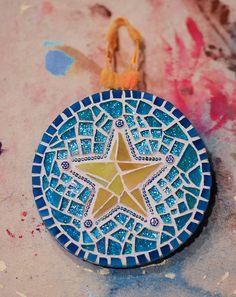 Star Ornaments of 2010 - Cherie Bosela - Fine Art Mosaics & Photography - Tile Crafts, Mosaic Crafts, Mosaic Projects, Mosaic Diy, Mosaic Garden, Mosaic Tiles, Star Ornament, Xmas Ornaments, Christmas Tree Decorations