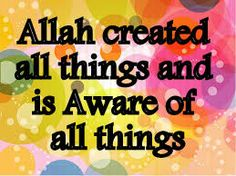 A PERFECT RELIGION: Allah created all things and is Aware of all thing...