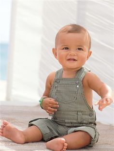 Baby Boy #Dungarees TAUPE STRIPE - #baby #boys #clothing from @verbaudet