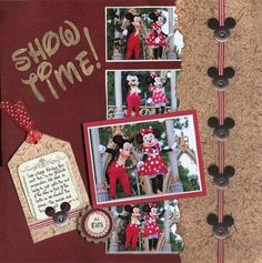 I like the larger picture standing out from the smaller pictures behind it.  Cute   Mickey ear embellishments too. Scrapbooking Album, Paper Bag Scrapbook, Disney Scrapbook Pages, Scrapbook Sketches, Scrapbook Page Layouts, Baby Scrapbook, Scrapbook Cards, Scrapbook Templates, Picture Scrapbook