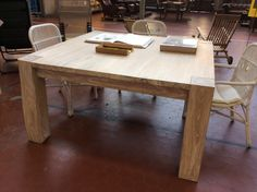 Massive, rustic, square dining table