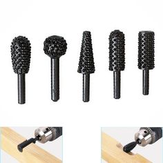 Купить товар 5pcs hss Power Tools Woodworking rasp chisel shaped rotating embossed grinding head power tool engraving pattern cutter milling http://ali.pub/jdgut