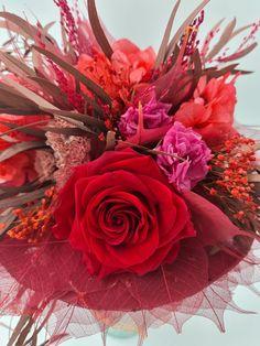 Febrero, y vamos a hablar de la elegancia de las rosas naturales y la variedad de rosas preservadas para la elección de tu ramo de novia. | Flores Akita Akita, Wreaths, Fall, Flowers, Plants, Home Decor, Hot Pink, Rose Varieties, Greenhouses
