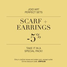 Joid'art perfect sets: buy a SCARF + EARRINGS and we will give you a 5% DISCOUNT.  Only in Joid'art stores and on joidart.com writing the code JOIFUL05 before making your purchase.  #joidartSS14 #joidart #joidartperfectsets #joidartcombinacionsperfectes #joidartfulards #joidartscarfs #barcelona #joidartsunnydays #joidartcolors #contemporaryjewellery #contemporaryjewelry #joieriacontemporania #joyeriacontemporanea
