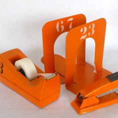 Small Orange Industrial Style Bookends by orangedoorvintage, via etsy