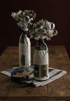 Embalagem para garrafas com jornal velho