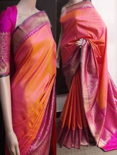 This multi color soft silk fabric saree features with designer pattern saree. Saree comes along with unstitched soft silk fabric blouse piece having similar work as shown in pic. Kerala Saree, Indian Silk Sarees, Soft Silk Sarees, Banarasi Sarees, Cotton Saree, Organza Saree, Kanchipuram Saree, Fancy Sarees, Party Wear Sarees