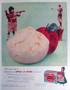 1956 Borden's Apple La Made Ice Cream Ad ~ Bull Shoots Arrow ...