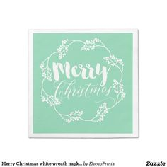 Merry Christmas white wreath napkins