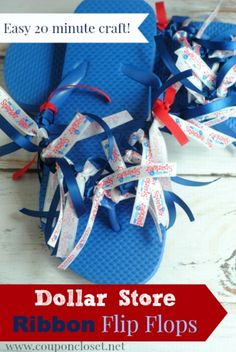 DIY Patriotic Flip flop for under $5! These are so fun and perfect for all ages!