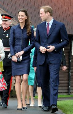 Pin for Later: 42 Times Prince William Rocked Our World by Matching Kate Middleton They Doubled Up on Dark Blue Suits Kate wearing Amanda Wakeley.