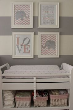 I love the idea of grey and white stripes for a babys room... It allows for gender neutrality and growth with the child!