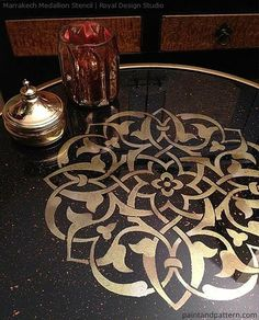 The Marrakech Medallion Motif Wall Art Stencil is elegant and easy for stenciling a random pattern on walls, floor, or furniture. Looks great stenciled in different paint colors using our smaller sten Stencil Wall Art, Stencil Diy, Stencil Painting, Stencil Designs, Stencil Table, Mandala Painting, Mandala Art, Furniture Makeover, Diy Furniture