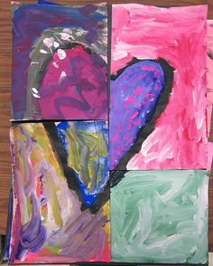 heart pieces-draw heart,cut,paint,reassemble