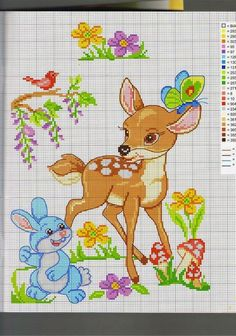 This Pin was discovered by Mil Cross Stitch For Kids, Cross Stitch Baby, Cross Stitch Animals, Counted Cross Stitch Patterns, Cross Stitch Charts, Cross Stitch Designs, Disney Stitch, Baby Embroidery, Cross Stitch Embroidery