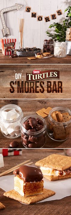 Who says you need a campfire for awesome S'mores? Take your next backyard get-together to the next level with a DIY TURTLES S'mores Bar! No Bake Desserts, Delicious Desserts, Dessert Recipes, Yummy Food, Summer Treats, Food Humor, Dessert Bars, Love Food, Baking Recipes