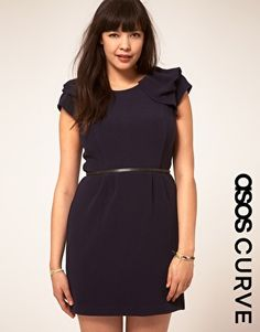 Enlarge ASOS CURVE Textured Tulip Dress With Ruffle Shoulders