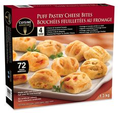 Frozen snacks and meals for every day and any occasion! Www.cuisineadventures foods.com  Frozen ready to bake puff pastry cheese bites