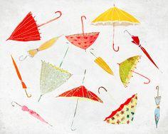 Septembre - Art - Print of an original illustration - Color Print - Drawing -  Autumn Rain Umbrella Collection- Children room decor by aliette on Etsy https://www.etsy.com/listing/113716983/septembre-art-print-of-an-original