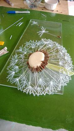 glas kunst - billede med mælkebøttefrøstand