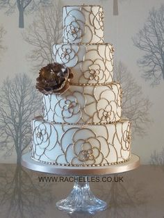 Gold Piped Carnation Flowers Wedding Cake