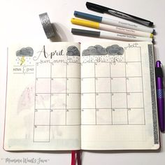 April Calender // My may bullet journal setup might be my favorite monthly layout yet! It has my calendar, goals, habit tracker, mood tracker, weather tracker, and more!