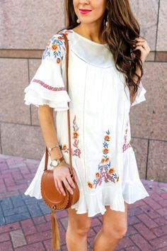 Beautiful Boho Floral Embroidered Dress