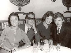 "cheapocheapo: "" Buddy Holly (with Maria Elena) & Phil Everly and his wife. "" I think that's a girlfriend as opposed to wife. AFAIK, Phil didn't get married until 1963 (to ""the boss's daughter""–her dad. Smokey Joe's Cafe, Rock And Roll, Popular Music Artists, Holly Pictures, Ritchie Valens, American Bandstand, Rock Legends, Music Love, Pop Music"