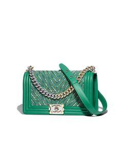 7fd345fd4 Bolsa BOY CHANEL, couro de novilho, correntes, tweed, metal prateado &  metal dourado, verde - CHANEL