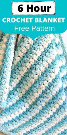 Granny Stripe Blanket, Crochet Blanket Border, Crochet Stitches For Blankets, Crochet Baby Blanket Free Pattern, Blanket Yarn, Chunky Blanket, Granny Squares, Chunky Crochet, Crochet Granny