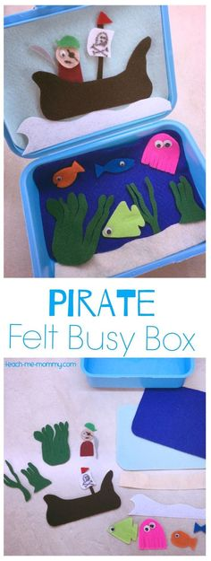 Pirate felt busy box, perfect for travel or quiet time! Pirate Activities, Quiet Time Activities, Educational Activities For Kids, Toddler Activities, Travel Activities, Preschool Activities, Kids Learning, Felt Busy Bag, Pirate Crafts