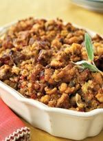 Cornbread and Apple Dressing: A holiday favorite, Cornbread and Apple Dressing (accented with sweet Italian sausage and fresh sage) is the perfect accompaniment to a golden roasted turkey.