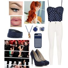 A fashion look from December 2013 featuring blue top, white trousers and navy pumps. Browse and shop related looks. Wrestling Outfits, Wwe Outfits, Dean Ambrose, What To Wear, Infinity, Fandom, Goals, Inspired, Female