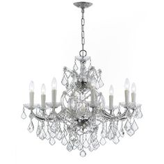 House of Hampton Griffiths 9 Light Crystal Chandelier Finish: Polished Chrome