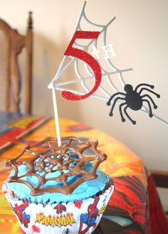 spiderman cupcakes | Monogrammed Spiderman Cupcake Topper by DDCupcakeAccessories